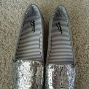 Brand New Silver Sequin Slip Ons in Size 8